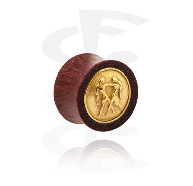 Tunnels & Plugs, Double flared plug met verguld inlegwerk, Hout