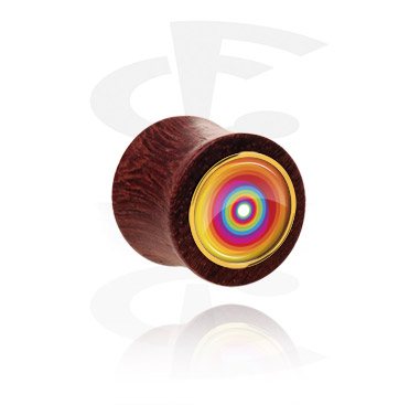 Tunnels & Plugs, Double Flared Plug met motief, Hout