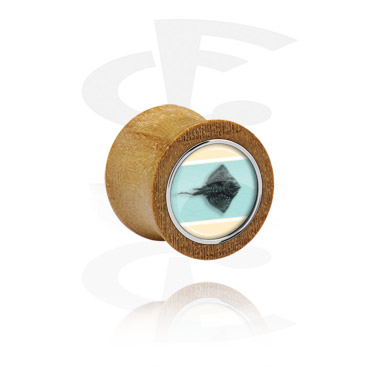 Tunnels & Plugs, Double Flared Plug, Beech Wood