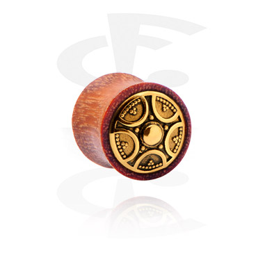 Tunnels & Plugs, Double Flared Plug with Steel Inlay, Mahogany Wood