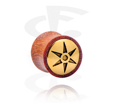 Tunnels & Plugs, Double Flared Plug with gold-plated Inlay, Wood