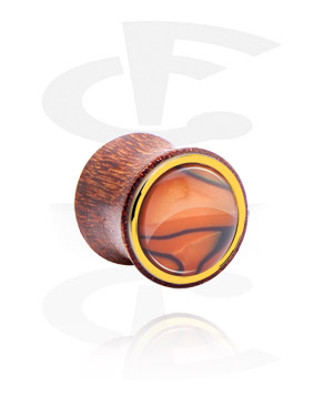 Tunely & plugy, Double Flared Plug with Mother Of Pearl design, Wood