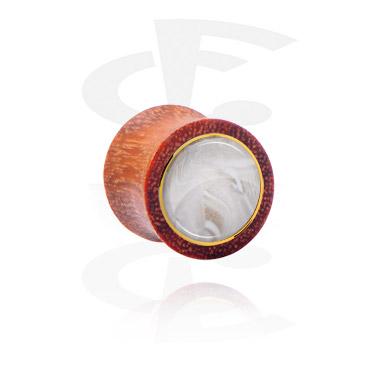 Double flared plug avec incrustation de nacre