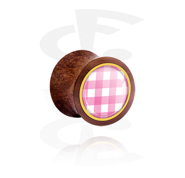 Double Flared Plug con traditional checkered design