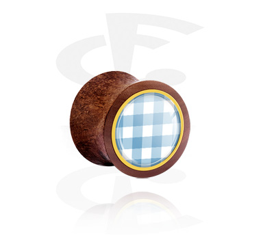Tunnel & Plugs, Double Flared Plug mit traditionellem Karo-Design, Holz