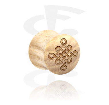 Tunnels & Plugs, Double Flared Plug with Laser Engraving, Wood