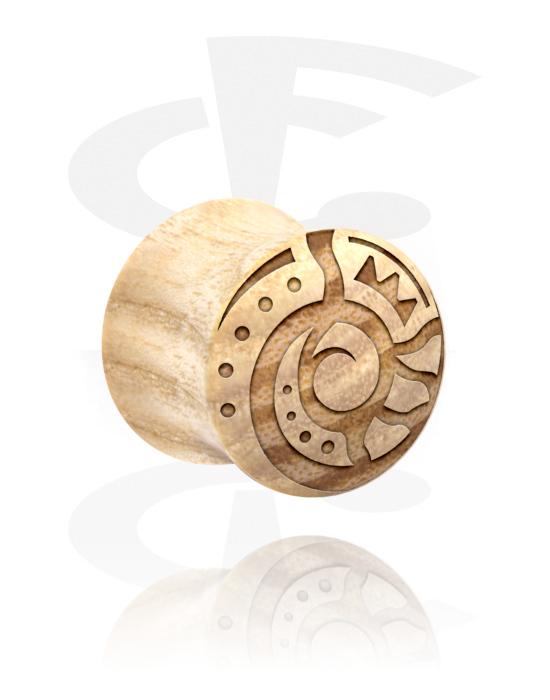 Tunely & plugy, Double Flared Plug s Maori Design, Dřevo