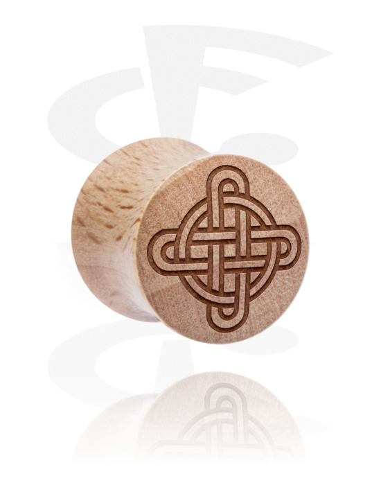 Tunnels & Plugs, Double Flared Plug with Nordic Runes, Wood