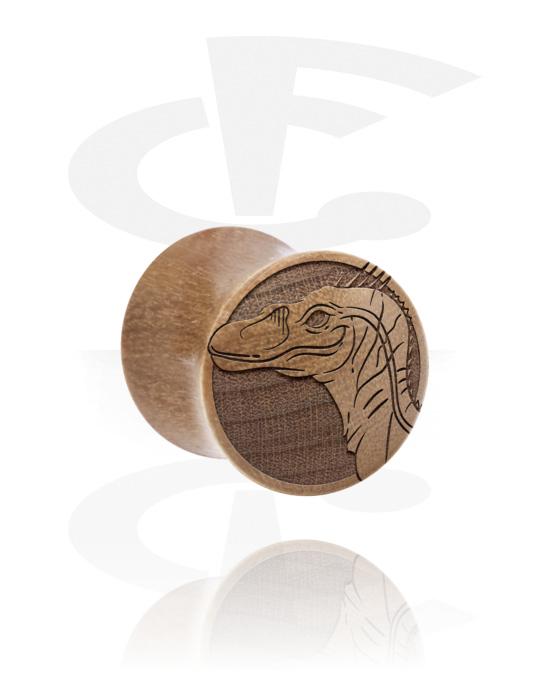Tuneli & čepovi, Double Flared Plug s Dinosaur Design, Drvo