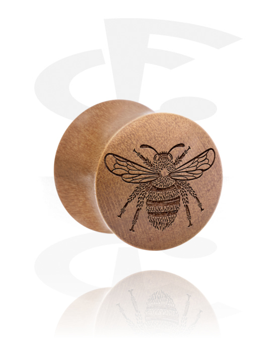 Tunnels & Plugs, Double Flared Plug with Insect Design, Wood