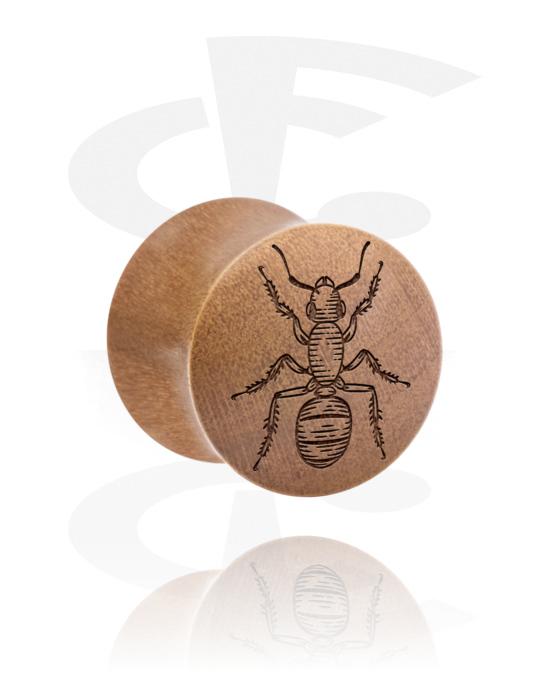 Tunnelit & plugit, Double Flared Plug kanssa Insect Design, Puu