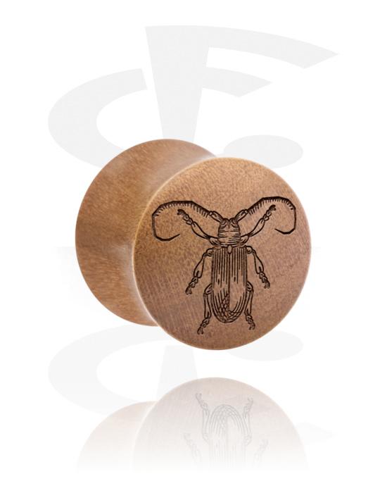 Tuneli & čepovi, Double Flared Plug s Insect Design, Drvo