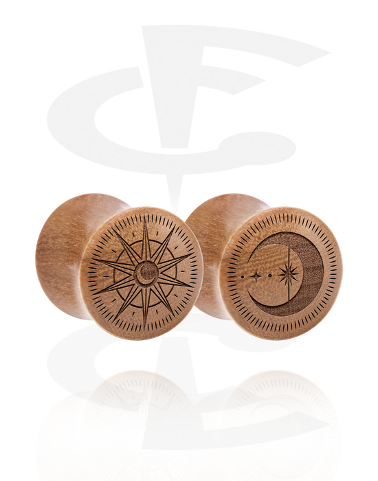 Tunnels & Plugs, 1 Pair Double Flared Plugs with Laser Engraving, Wood