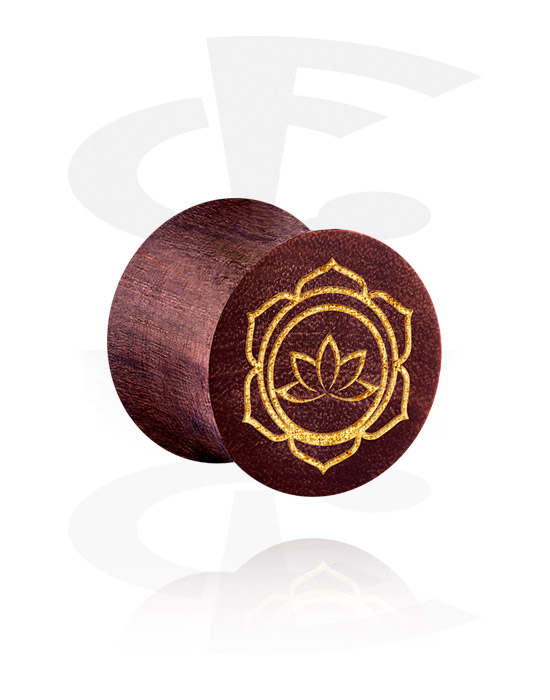 Tunnels & Plugs, Double Flared Plug with Asian Design, Mahogany Wood