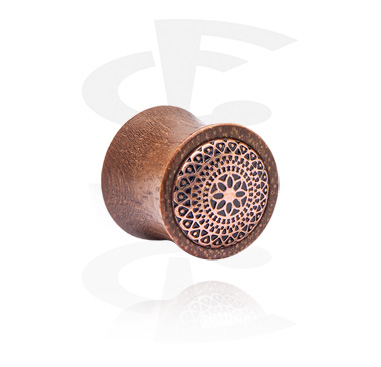 Tunnels & Plugs, Double Flared Plug with Mandala-Design, Wood