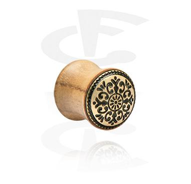 Tunnels & Plugs, Double Flared Plug with Mandala-Design, Wood