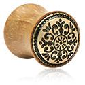 Tunnels & Plugs, Double Flared Plug with Mandala Steel Inlay, Wood