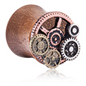 Tunnels & Plugs, Double Flared Plug with Steampunk Design, Wood