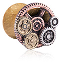 Tunnels & Plugs, Double Flared Plug met Steampunk Design, Hout