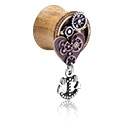 Tunnels & Plugs, Double Flared Plug with Steampunk Design and anchor attachment, Wood