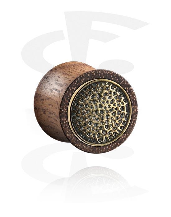 Tuneli & čepovi, Double Flared Plug s steel inlay, Drvo, Kirurški čelik 316L