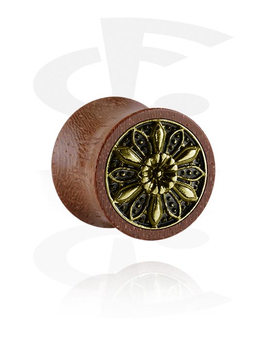 Tunnels & Plugs, Double Flared Plug met staal accessoire, Hout, Chirurgisch staal 316L