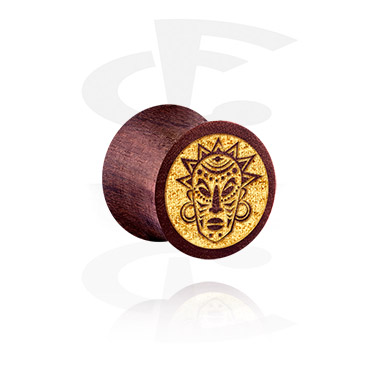 Tunnels & Plugs, Double Flared Plug with Mask Design, Wood