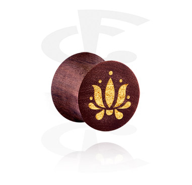 Tunnels & Plugs, Double Flared Plug with Asian Design, Wood