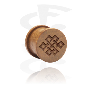 Tunnels & Plugs, Ribbed Plug with Laser Engraving, Wood