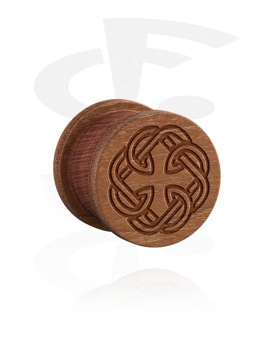 Tunely & plugy, Ribbed Plug s Nordic Runes, Dřevo