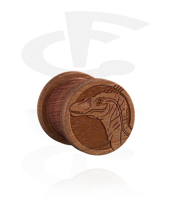 Tunnelit & plugit, Ribbed Plug kanssa Dinosaur Design, Puu