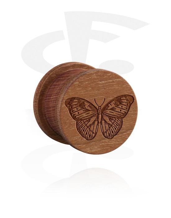 Tunnelit & plugit, Ribbed Plug kanssa Insect Design, Puu