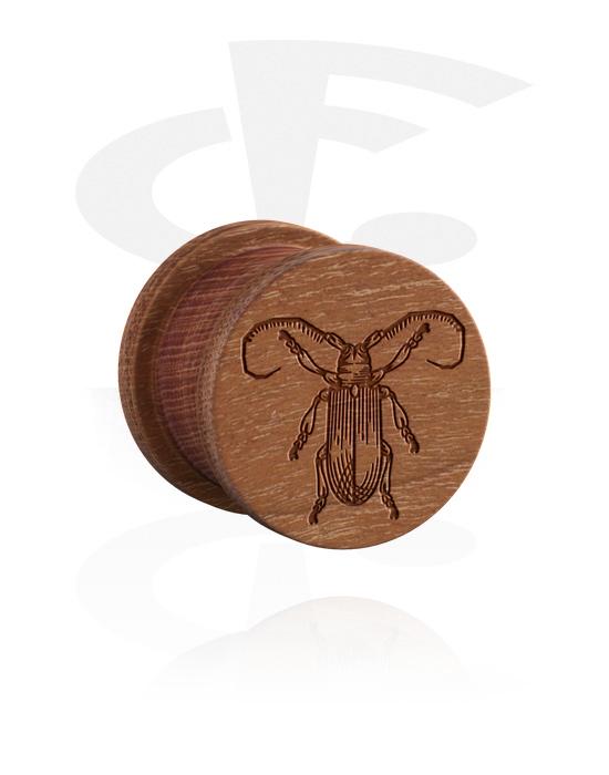 Tuneli & čepovi, Ribbed Plug s Insect Design, Drvo