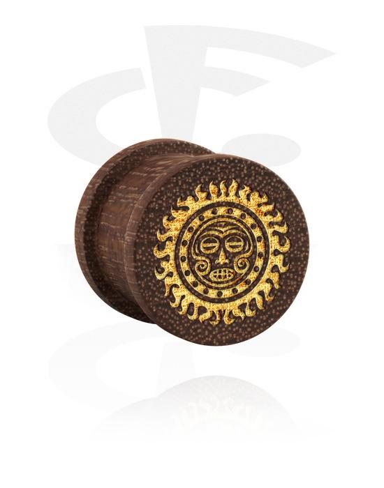 Tunely & plugy, Ribbed Plug s Mask Design, Mahagonové dřevo