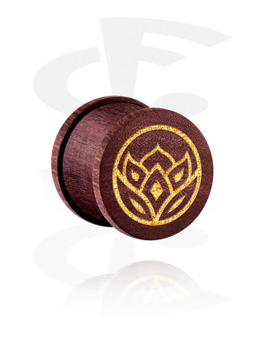 Tunely & plugy, Ribbed Plug s Asian Design, Mahagonové dřevo