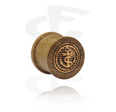 Tunnel & Plugs, Ribbed Plug mit vergoldeter Stahleinlage, Holz