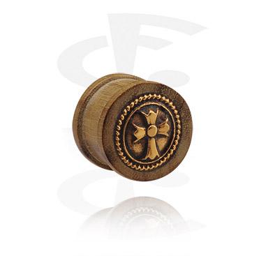Ribbed Plug com aço banhado a ouro incrustado