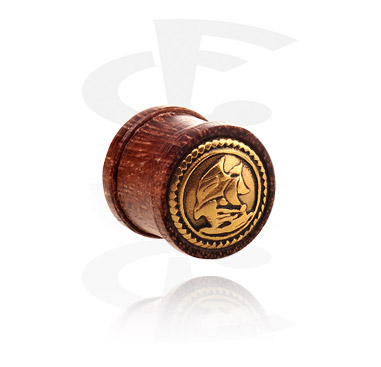 Tunnels & Plugs, Ribbed Plug with Steel Inlay, Wood
