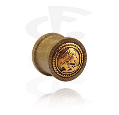 Tuneli & čepovi, Ribbed Plug with gold-plated Inlay, Wood