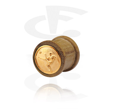 Tunely & plugy, Ribbed Plug with gold-plated Inlay, Wood