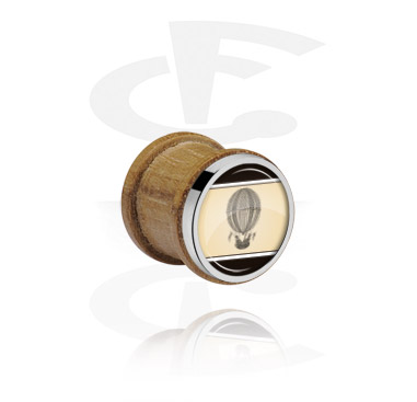Tunnels & Plugs, Ribbed Plug met staal accessoire, Beukenhout