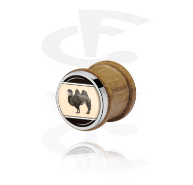 Tunnels & Plugs, Ribbed Plug with Steel Inlay, Beech Wood