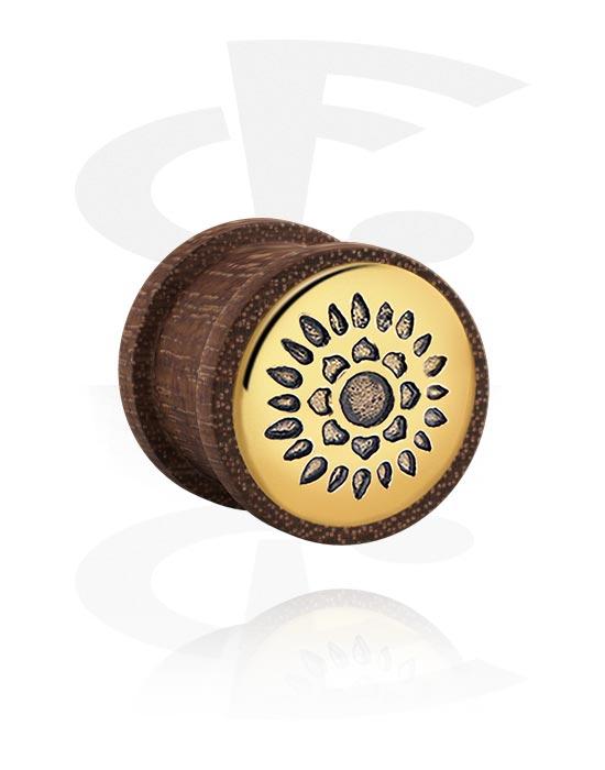 Tunele & plugi, Ribbed Plug z steel inlay, Drewno mahoniowe