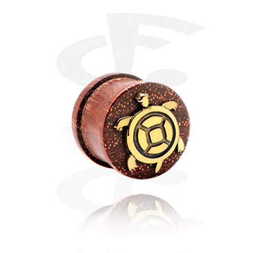Tunnels & Plugs, Ribbed Plug with gold-plated Inlay, Wood