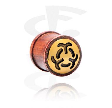 Plug ribeteado con accesorio de acero chapado en oro.
