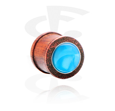 Ribbed Plug with Mother Of Pearl Inlay