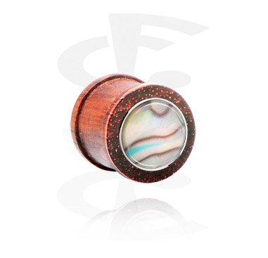 Tunely & plugy, Ribbed Plug with Mother Of Pearl Inlay, Wood