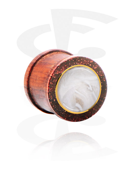 Tunnels & Plugs, Ribbed Plug met staal accessoire, Mahogany