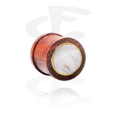Tunele & plugi, Ribbed Plug z steel inlay, Mahogany