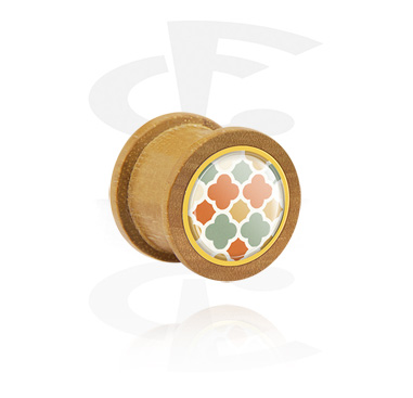Tunnels & Plugs, Ribbed Plug, Beech Wood